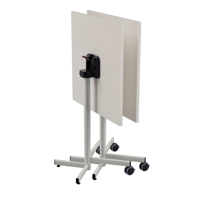 FLIP Folding table with castors stacked side by side