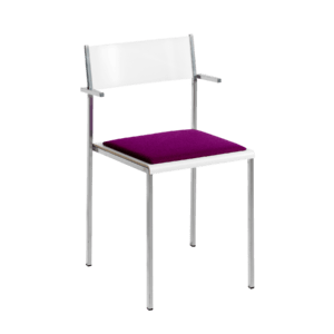 Flow stackable chair with upholstery and armrests